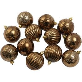 12 Pack 80mm Plastic Gold Patterned Ornaments thumb
