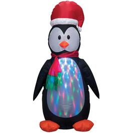 4' Outdoor Rotating Flashing Kaleidoscope Inflatable Airblown Penguin Figure thumb