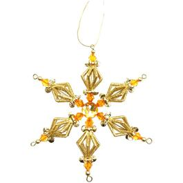 "6"" Gold Snowflake Ornament, with Gem thumb"