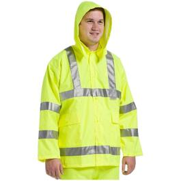 Mens Large High Visibility Fluorescent Green Polyester Rain Jacket thumb