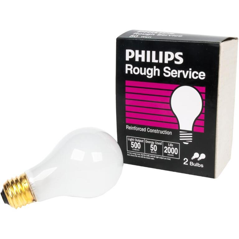 PHILIPS:2 Pack 50W A19 Medium Base Rough Service Light Bulbs