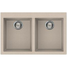 "20-7/8"" x 31-1/2"" Oat Drop-In Double Granitek Kitchen Sink with Squared Corners thumb"