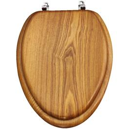 Medium Oak Toilet Seat, with Hinge for Elongated Toilets thumb