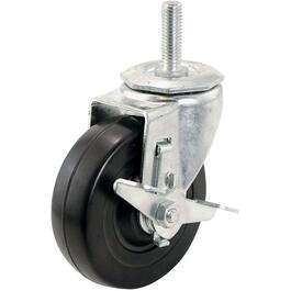 "4"" Swivel Rubber Threaded Stem Caster, with Brake thumb"