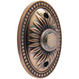 Lighted Wired Oval Bronze Medallion Design Doorbell Button thumb