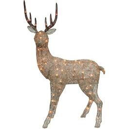 "48"" Mesh Champagne Head Up Deer Lit Frame, with 70 Clear Lights thumb"