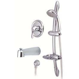 Chrome Single Lever Pressure Balanced Tub and Shower Faucet with Hand Shower and Slide Bar thumb