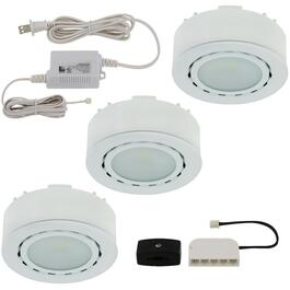 White 3 Light Mini Puck LED Light Fixture thumb