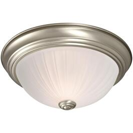 "11"" Pewter Frosted Melon Glass Flush Light Fixture thumb"