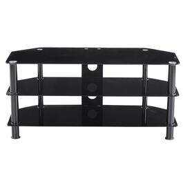 "41"" x 18"" x 17"" Black Metal and Black Glass TV Stand thumb"