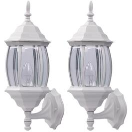 2 Pack Outdoor Down or Upward Coach White Light Fixtures with Clear Bevelled Glass thumb