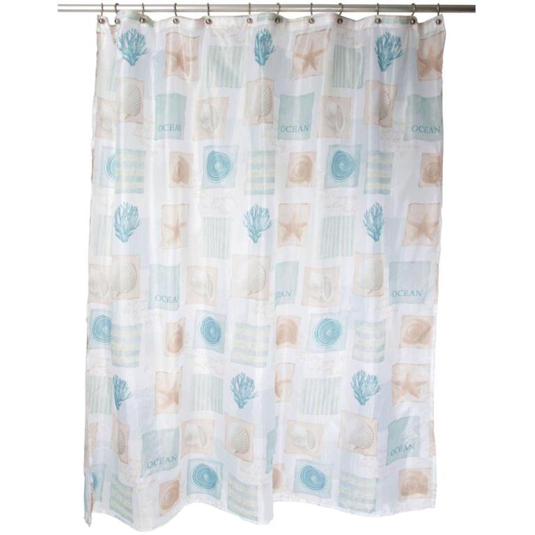 FAMOUS HOME 70 X 72 Seaside White Blue Polyester Shower Curtain