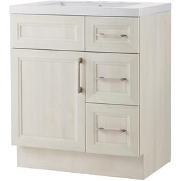 "30"" x 21"" Cashmere Antique White Wash 2 Door 3 Drawer Vanity with Acrylic Top thumb"