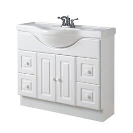 "39"" x 12"" 2 Door 4 Drawer White Vanity, with China Top thumb"