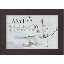 "16"" x 22"" Family Where Life Begins And Love Never Ends Framed Plaque thumb"