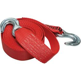 "8500lb Capacity 2"" x 15' Red Tow Strap, with Hook thumb"