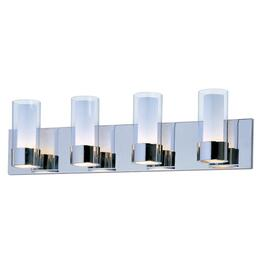 Martigny 4 Light Chrome Vanity Light Fixture with Frosted and Clear Glass Shades thumb
