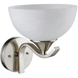 Bisbee 1 Light Satin Nickel Wall Light Fixture with White Marble Glass Shade thumb