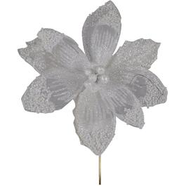 "7"" White Glitter Poinsettia Clip-On thumb"