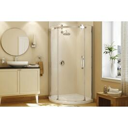 Olympia Round Right Hand Shower Door and White Base with Clear Glass, Chrome Trim thumb