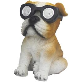 "7"" Solar Polyresin Dog with Glasses Garden Statue, Assorted Styles thumb"
