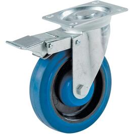 "4"" Elastic Rubber Swivel Plate Caster, with Brake thumb"