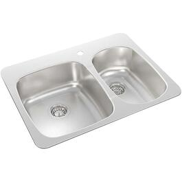 "27 1/4"" x 20 1/2"" x 7 1/8"" Stainless Steel Drop In Kitchen Sink thumb"