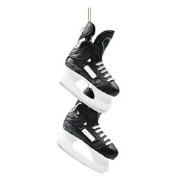 Black Hockey Skates Ornament thumb