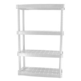 "32"" x 14"" x 54-1/2"" 4 Shelf Medium Duty White Poly Shelving Unit thumb"