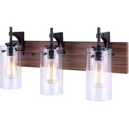 Arlie 3 Light Matte Black and Brown Faux Wood Vanity Light Fixture, with Clear Glass Shade thumb