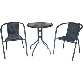3 Piece Black Wicker Steel Frame Bistro Set thumb