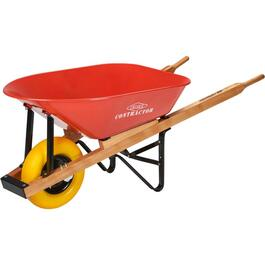 6 Cu. Ft Steel Tray Wheelbarrow, with Flat Free Tire thumb