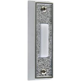 Lighted Wired Silver Plastic Doorbell Push Button with White Button thumb