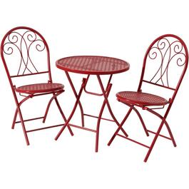 Red 3 Piece Henry Steel Folding Bistro Set thumb