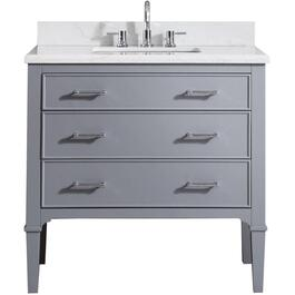 "Kristal 37"" x 22"" 2 Drawer + 1 Tilt Drawer Grey Vanity with White Carrera Top thumb"