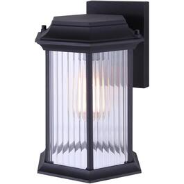 Kitley Black Outdoor Downward Coach Light Fixture with Clear Ribbed Glass thumb
