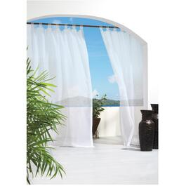 "50"" x 96"" Sheer White Hook and Loop Tab Outdoor Curtain thumb"
