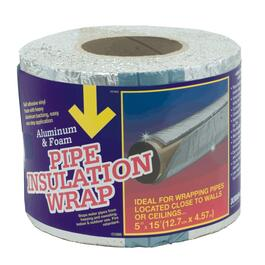 "5"" x 15'L Aluminum Backed Foam Pipe Insulation Wrap thumb"