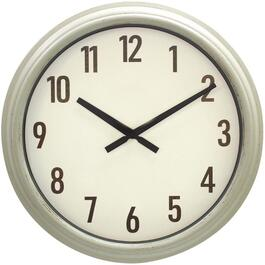 "16"" White Distressed Indoor/Outdoor Wall Clock thumb"