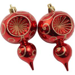 2 Pack Plastic Red/Green Reflector Finial Ornaments thumb