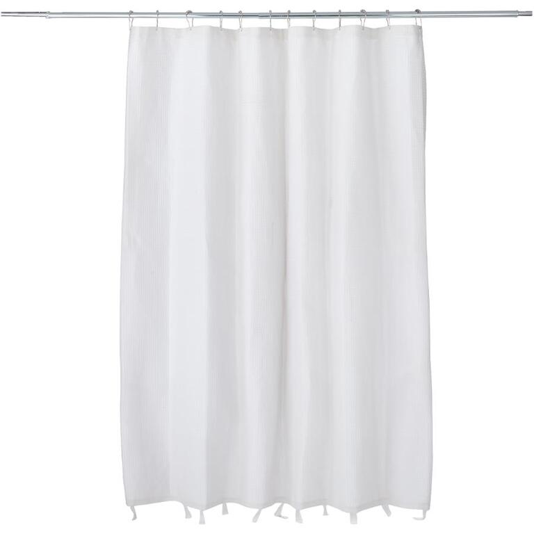 MAYTEX 72 X White Polyester And Cotton Waffle Shower Curtain