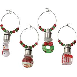 4 Pack of Assorted Holiday LED Wine Charms thumb
