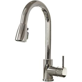 Urbania Chrome Kitchen Faucet Deck with Pull-Down Spout and Pause Button thumb