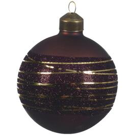 Glass Gold Glitter Lines Round Ornament, Assorted Colours thumb