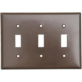 Brown 3 Toggle Switch Plate thumb