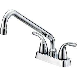 "4"" Chrome Laundry Faucet with 2 Lever Handles and 10"" Spout thumb"