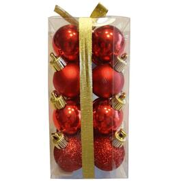16 Pack 30mm Plastic Red Ornaments thumb