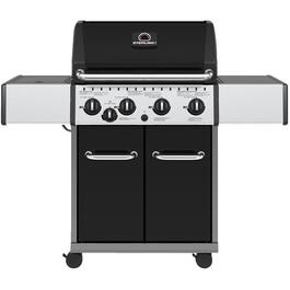 4 Burner + 1 Inset Side Burner 644 sq. in. 40,000BTU Black Propane Barbecue, with Cabinet thumb