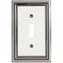 Estate Chrome with White Center Single Toggle Metal Switch Plate thumb