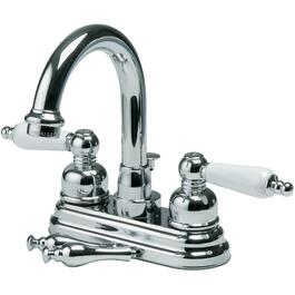 High-Spout Lavatory Faucet, with Porcelain and Chrome Handles thumb